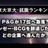 【東大京大・就職ランキング】P&Gが17位へ急落?マッキンゼー・BCGを辞退した学生は